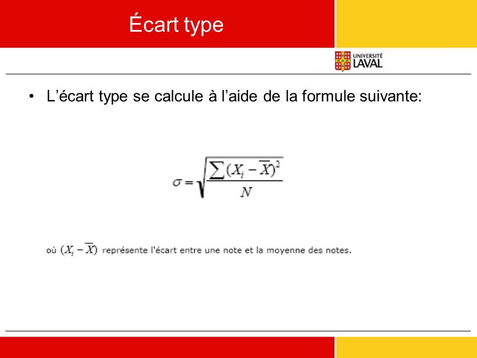 Écart type L'écart type se calcule à l'aide de la formule suivante: