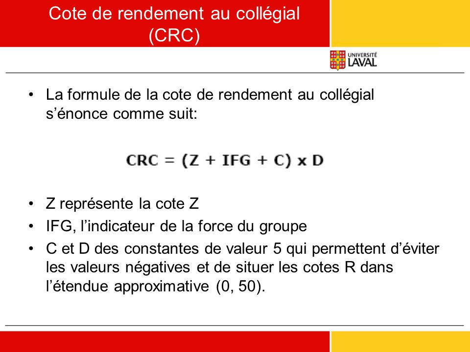 Cote de rendement au collégial (CRC)