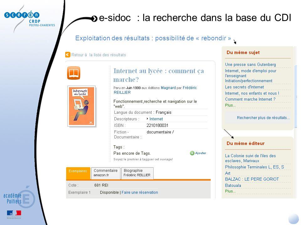 e-sidoc : la recherche dans la base du CDI