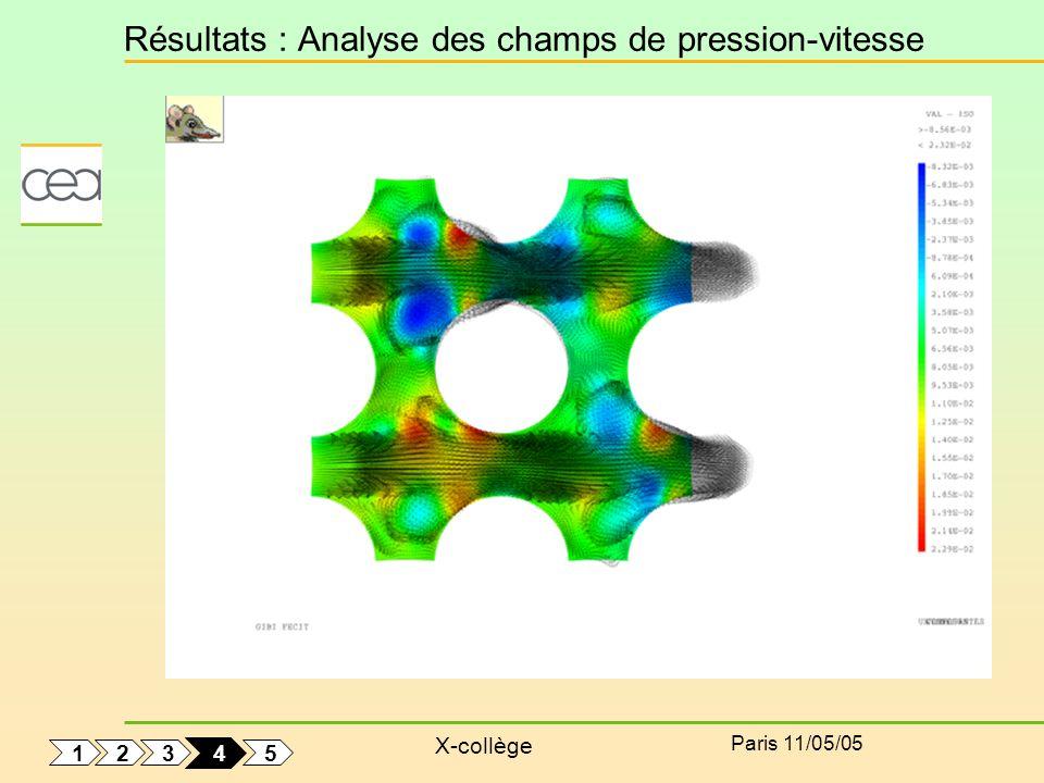 Résultats : Analyse des champs de pression-vitesse