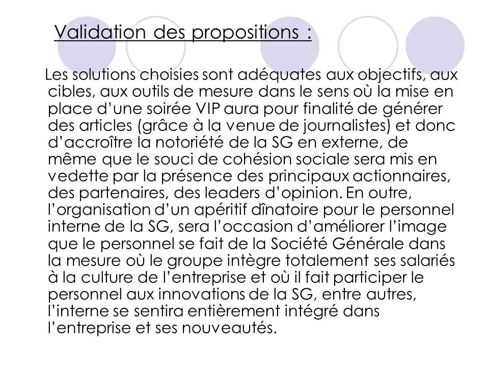Validation des propositions :