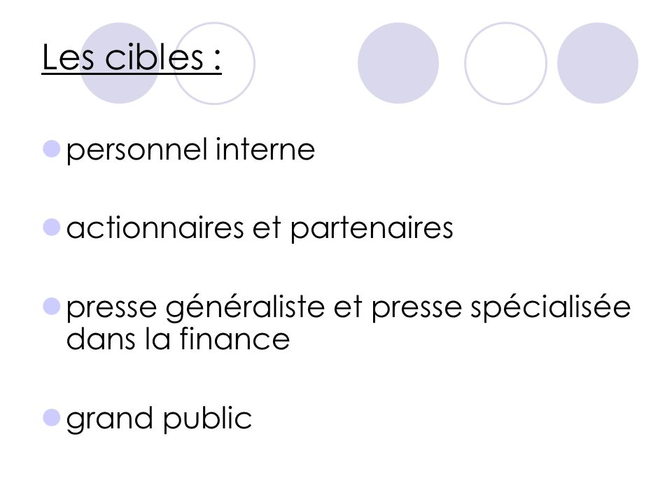 Les cibles : personnel interne actionnaires et partenaires