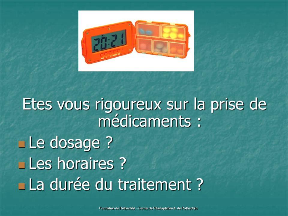 Etes vous rigoureux sur la prise de médicaments : Le dosage