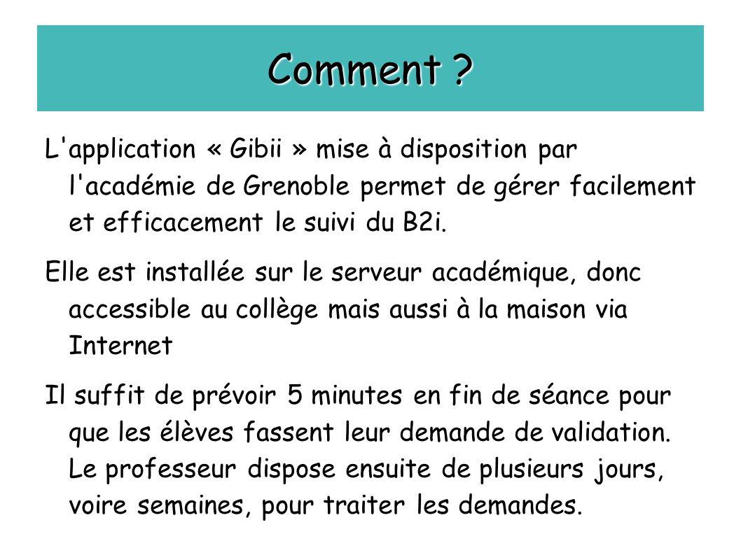 Comment L application « Gibii » mise à disposition par l académie de Grenoble permet de gérer facilement et efficacement le suivi du B2i.