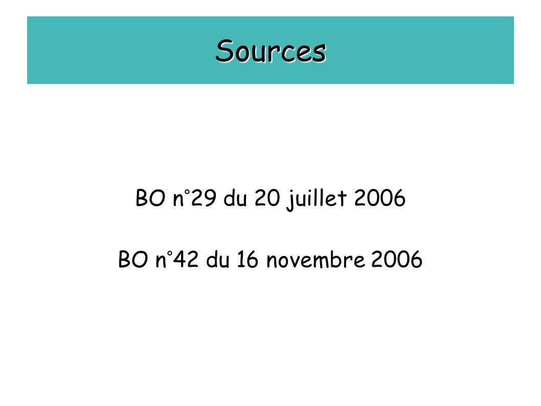 BO n°29 du 20 juillet 2006 BO n°42 du 16 novembre 2006