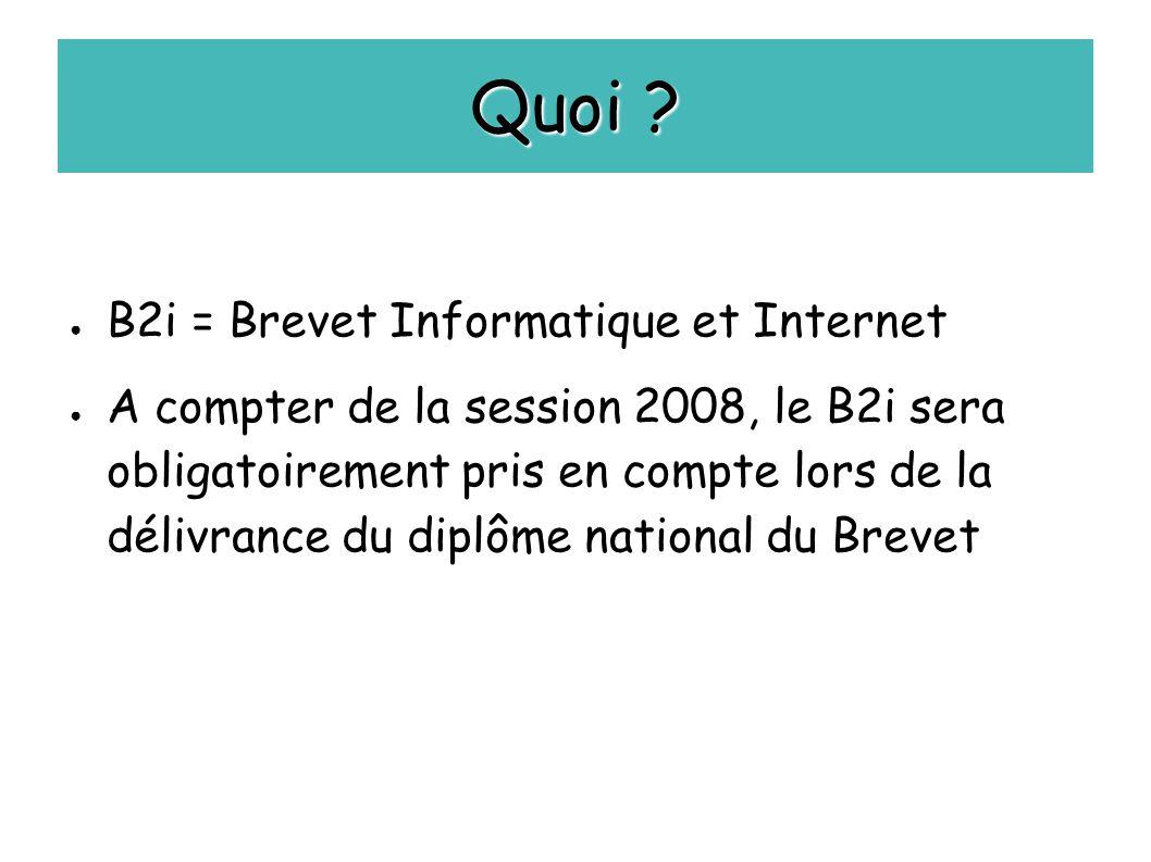 Quoi B2i = Brevet Informatique et Internet