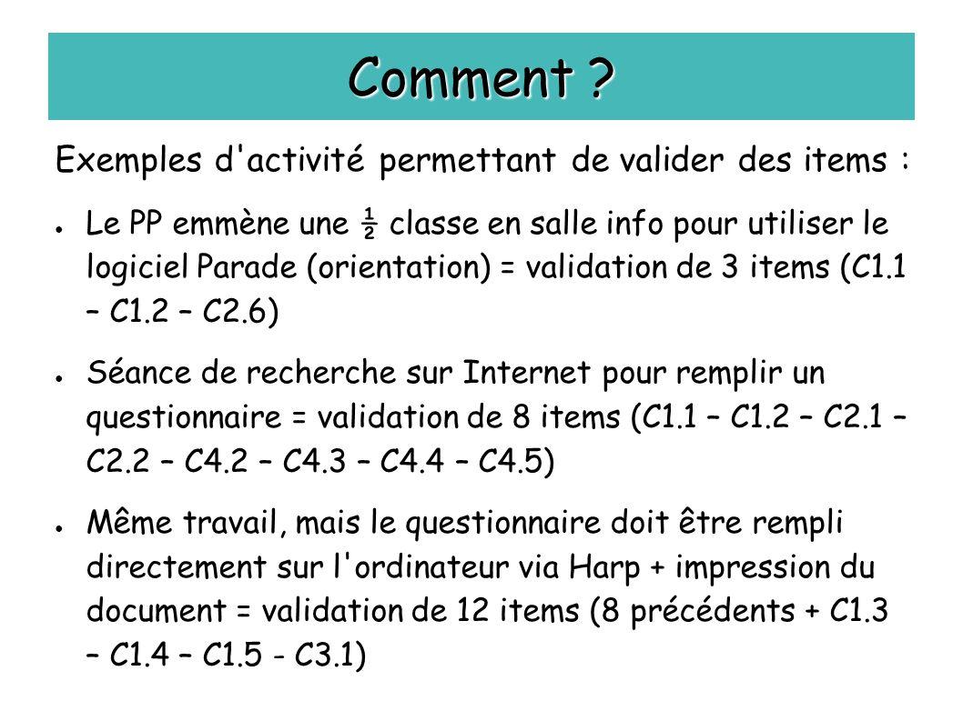 Comment Exemples d activité permettant de valider des items :