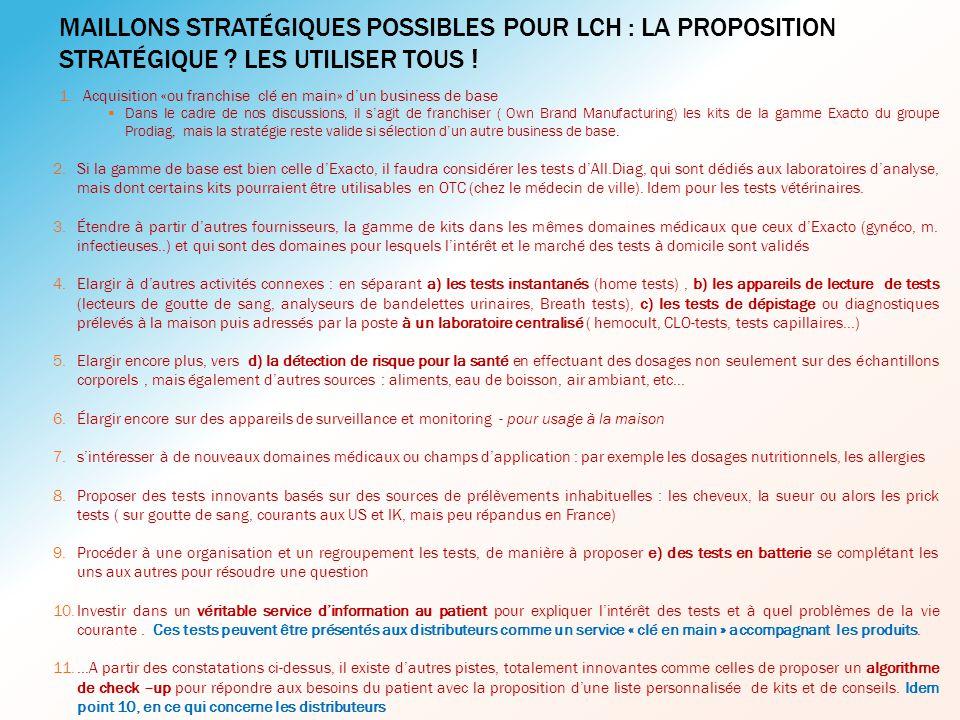 Maillons stratégiques possibles pour LCH : La proposition stratégique