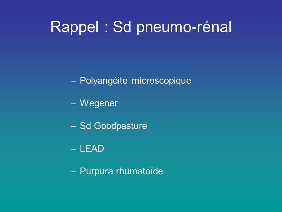 Rappel : Sd pneumo-rénal