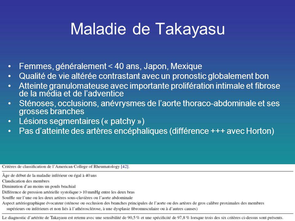 Maladie de Takayasu Femmes, généralement < 40 ans, Japon, Mexique
