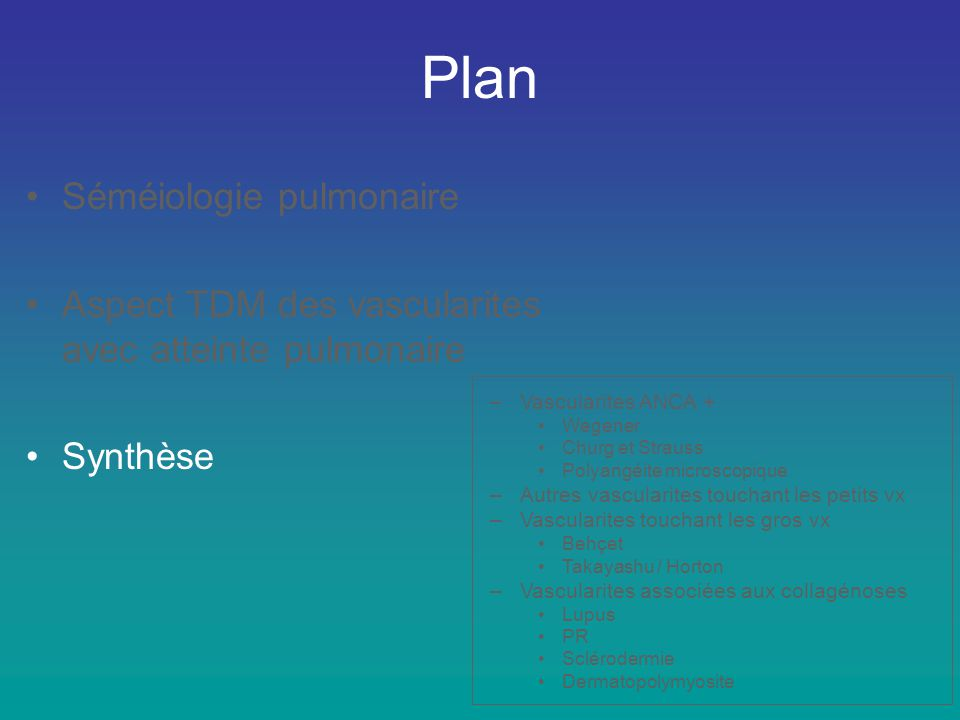 Plan Séméiologie pulmonaire