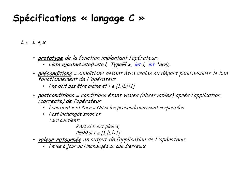 Spécifications « langage C »