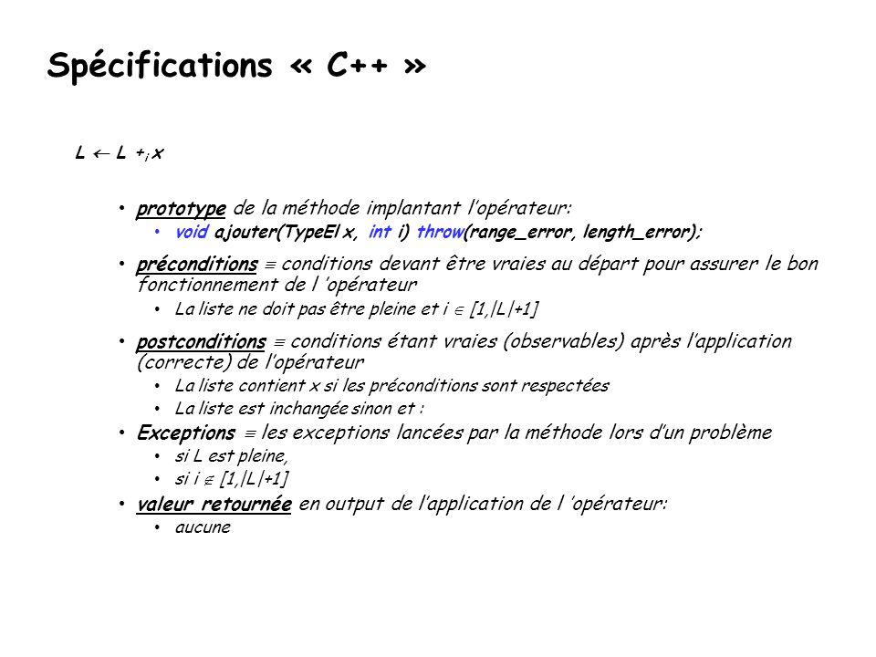 Spécifications « C++ » prototype de la méthode implantant l'opérateur: