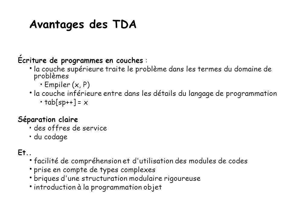 Avantages des TDA Écriture de programmes en couches :
