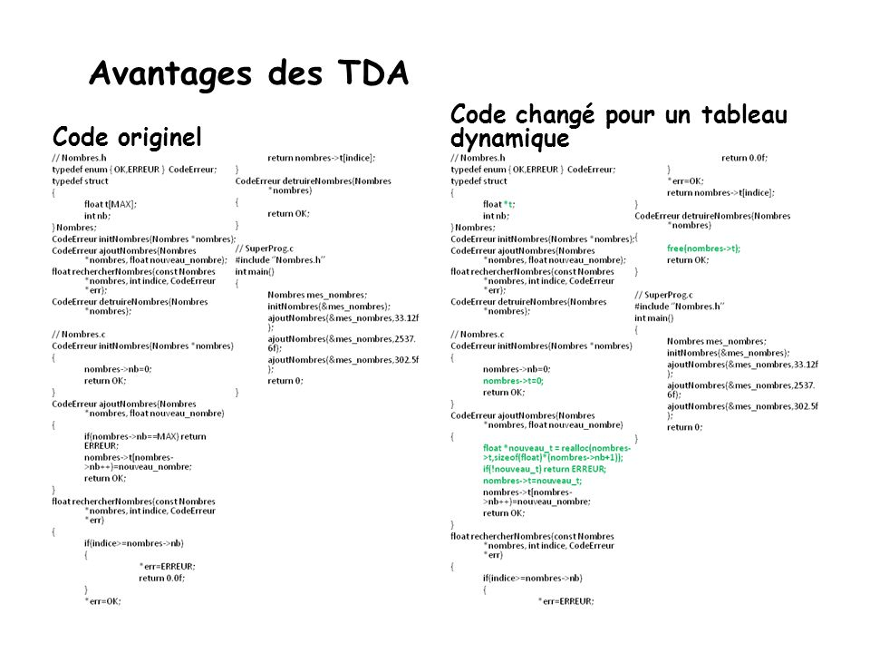 Avantages des TDA Code changé pour un tableau dynamique Code originel