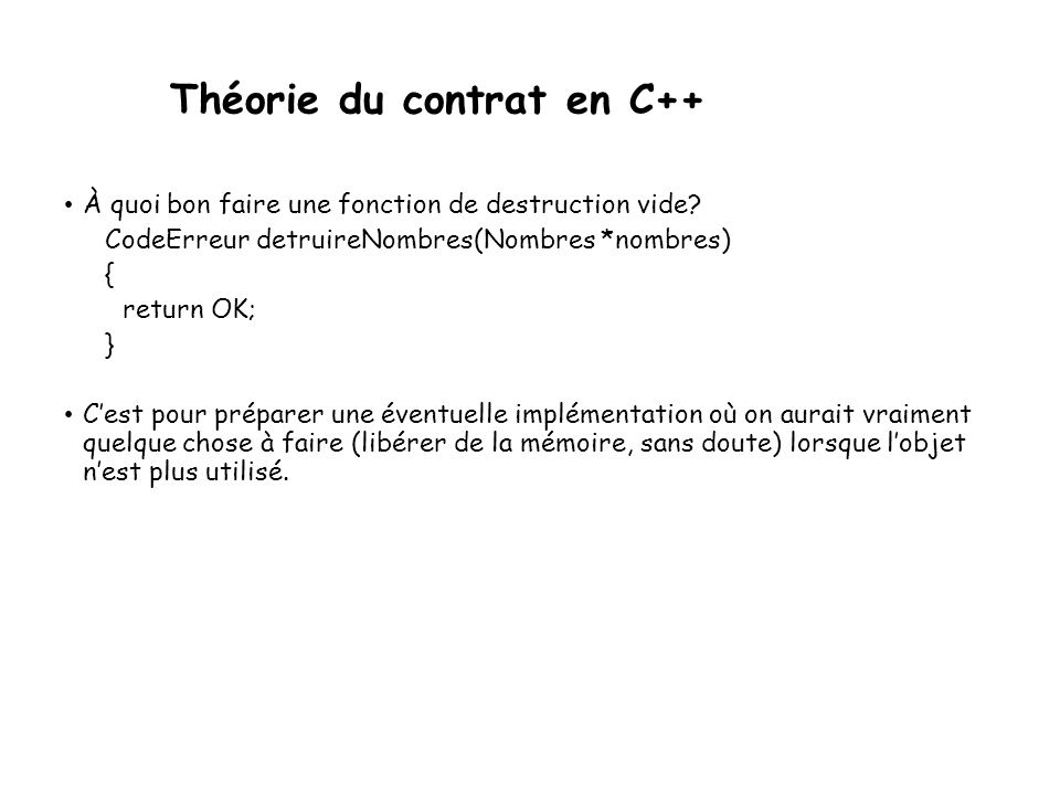 Théorie du contrat en C++