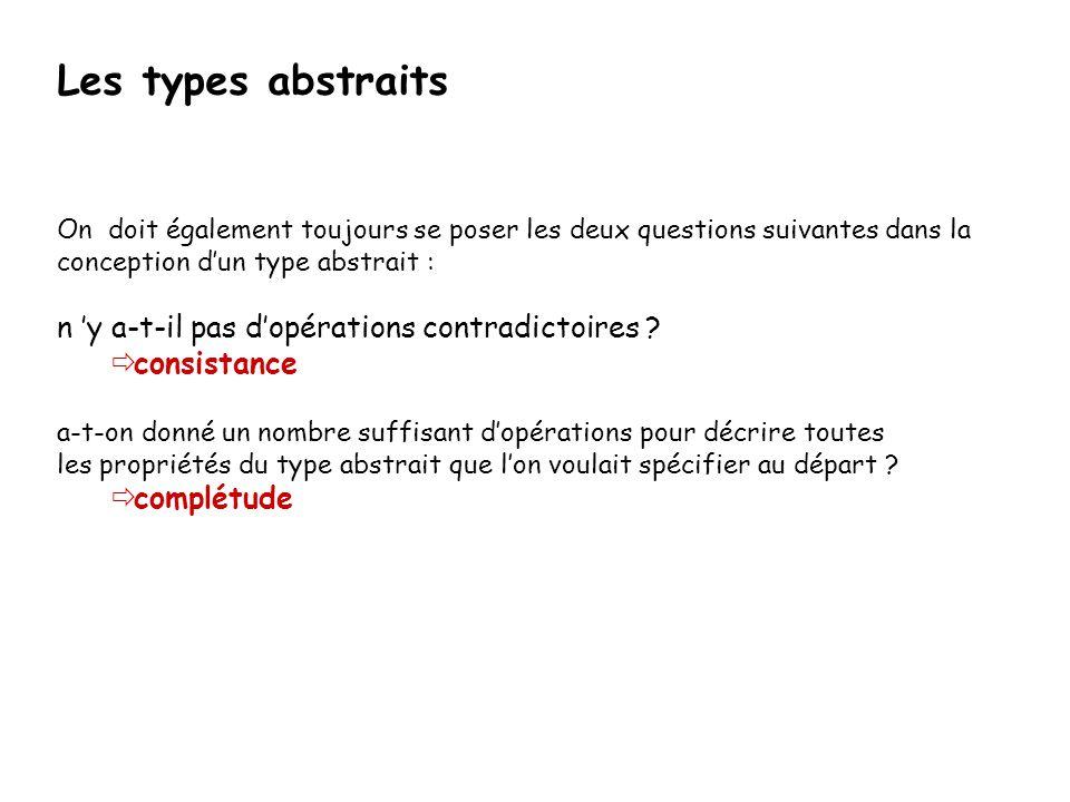 Les types abstraits n 'y a-t-il pas d'opérations contradictoires