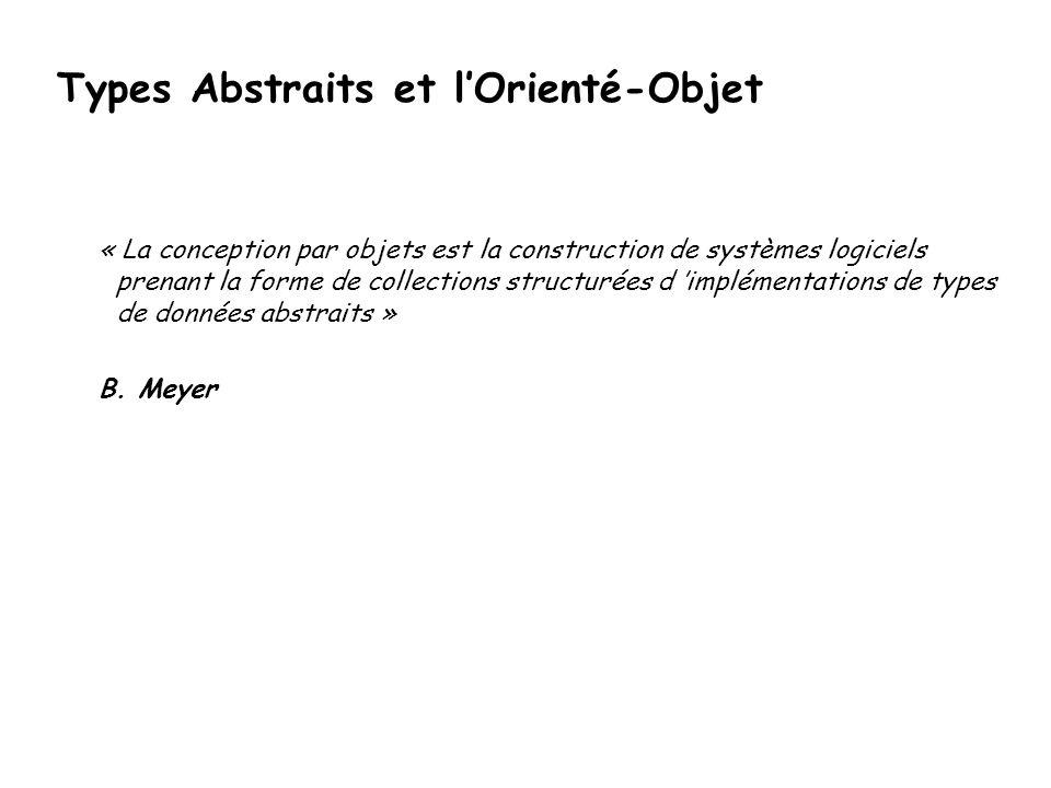 Types Abstraits et l'Orienté-Objet