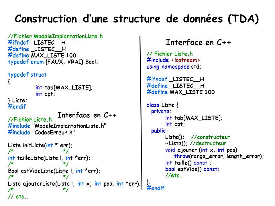 Construction d'une structure de données (TDA)