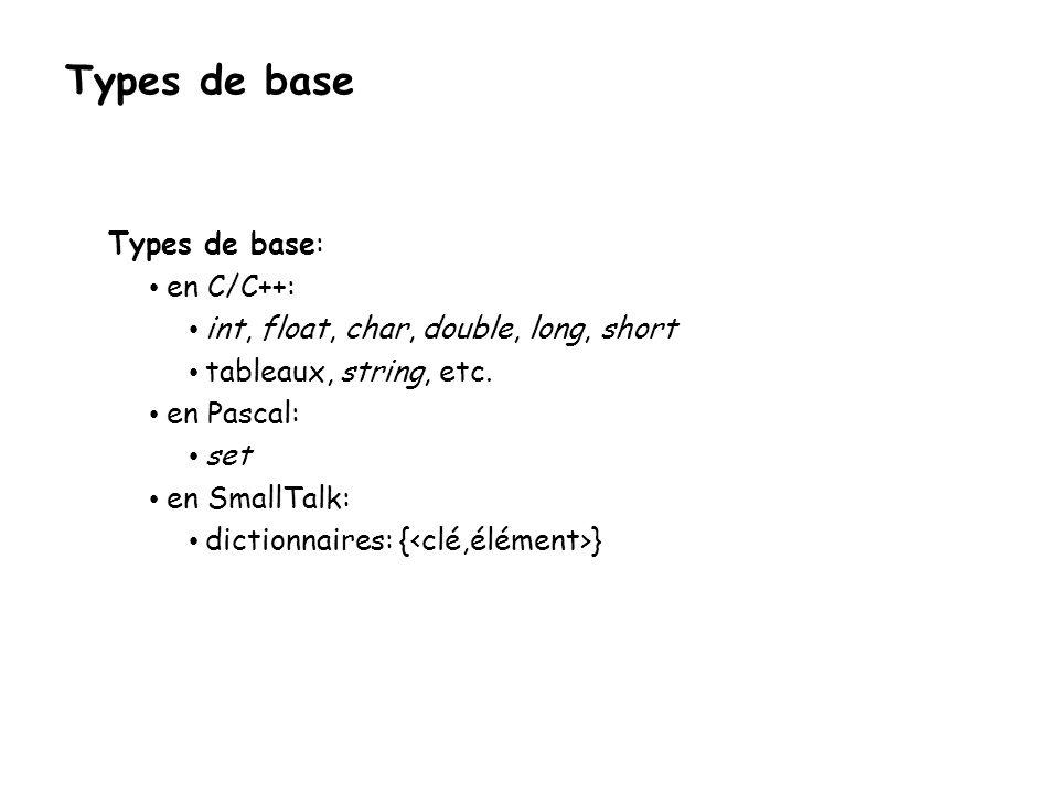 Types de base Types de base: en C/C++: