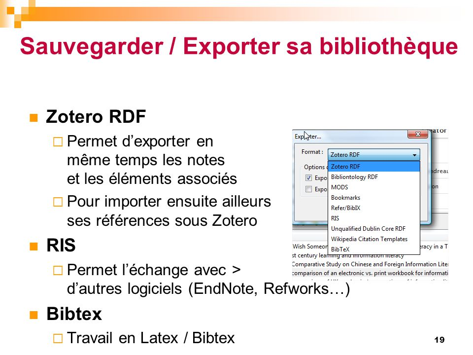 Sauvegarder / Exporter sa bibliothèque