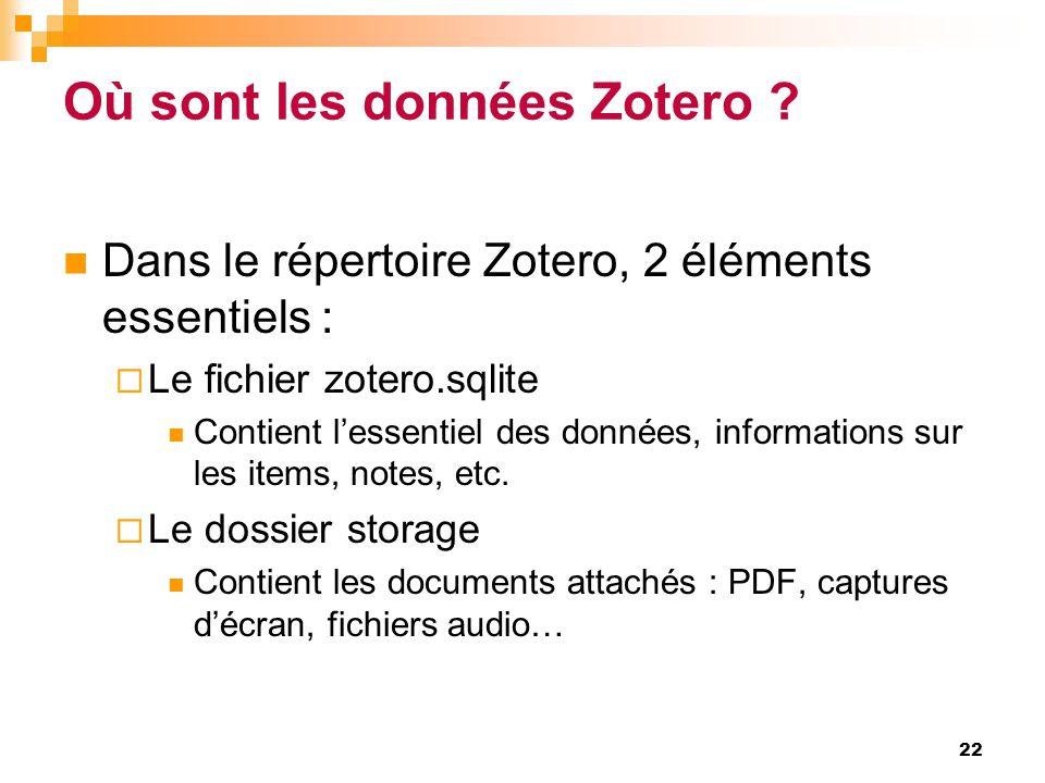 Où sont les données Zotero