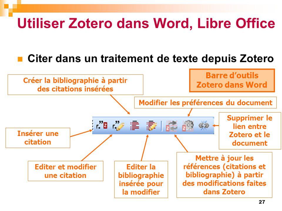 Utiliser Zotero dans Word, Libre Office