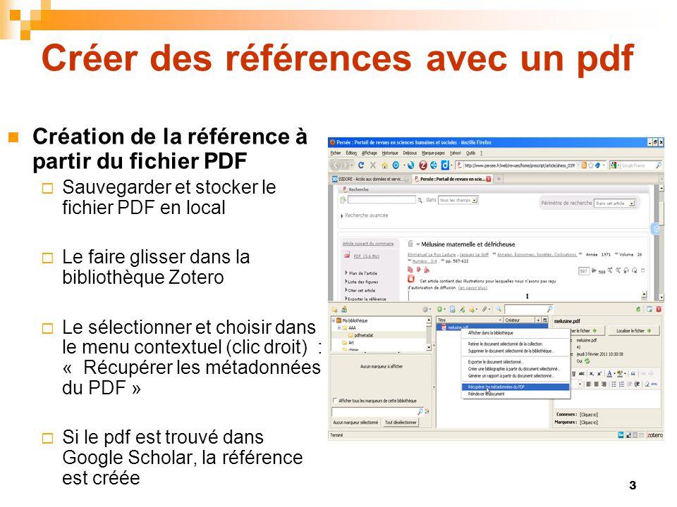 Créer des références avec un pdf