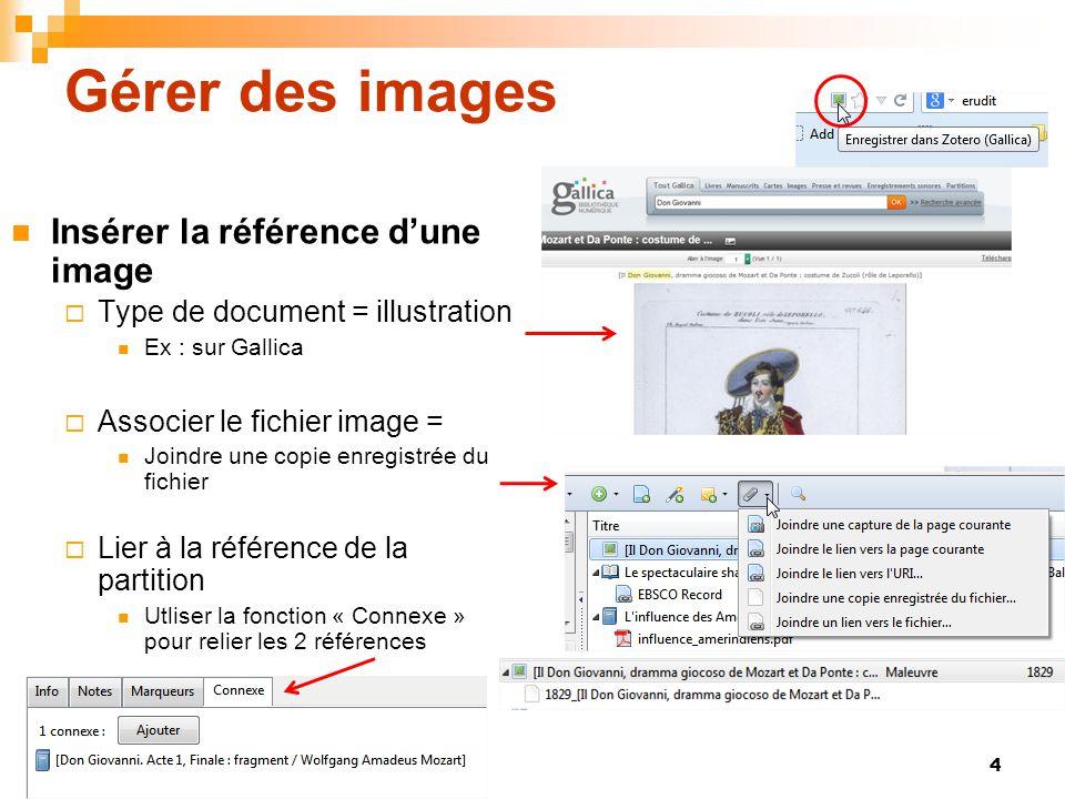 Gérer des images Insérer la référence d'une image