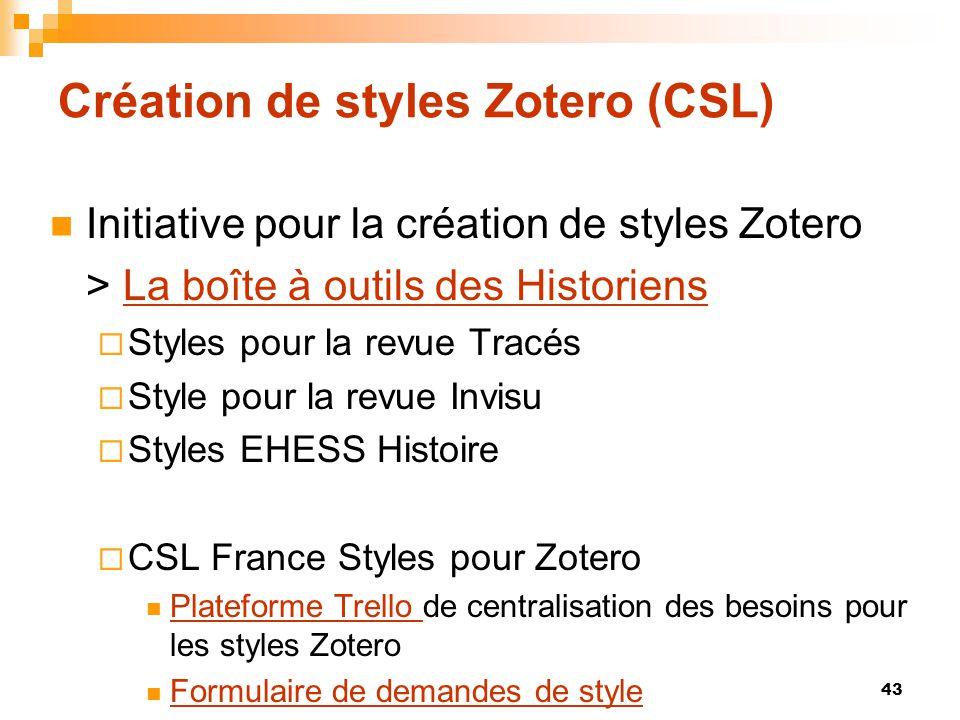 Création de styles Zotero (CSL)