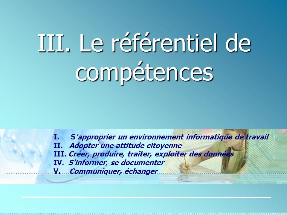 III. Le référentiel de compétences