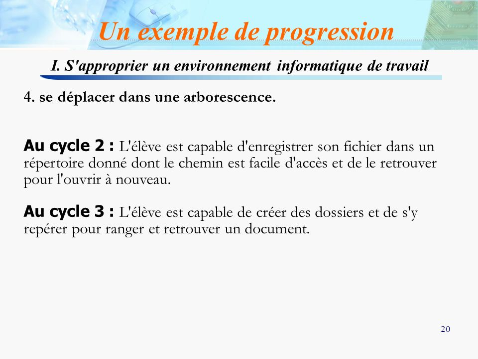 Un exemple de progression