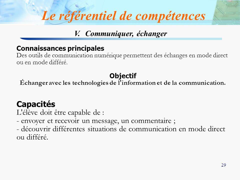 V. Communiquer, échanger