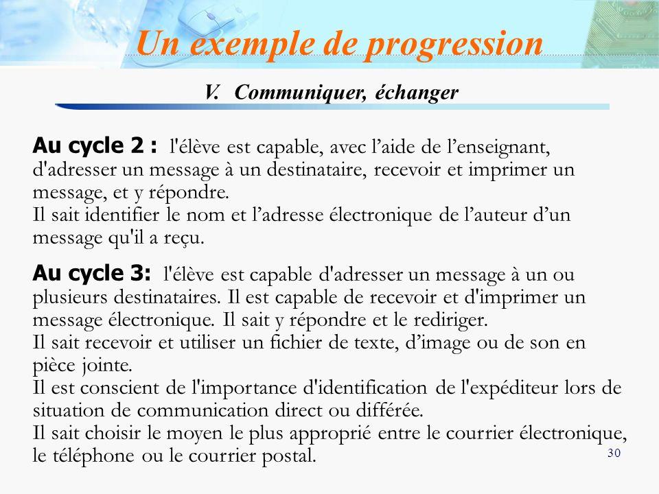 Un exemple de progression V. Communiquer, échanger