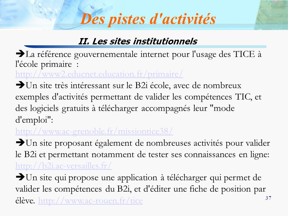 II. Les sites institutionnels