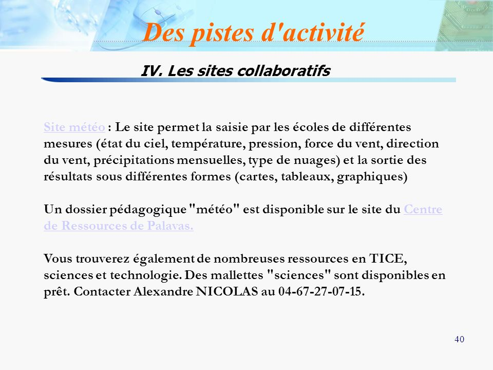 IV. Les sites collaboratifs