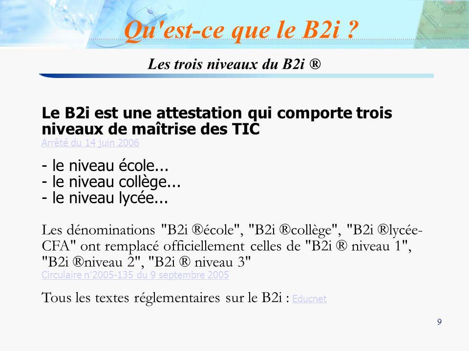 Les trois niveaux du B2i ®