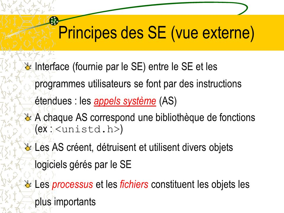 Principes des SE (vue externe)