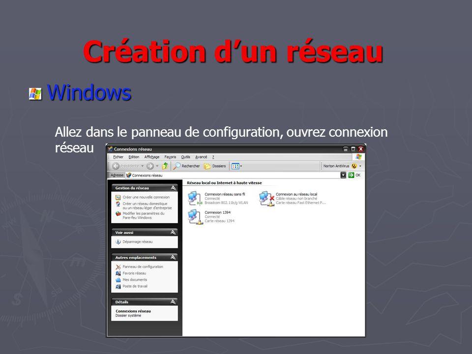 Création d'un réseau Windows