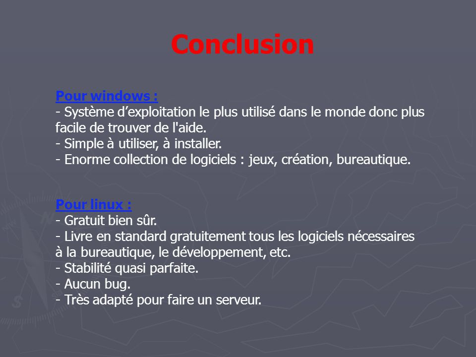 Conclusion Pour windows :