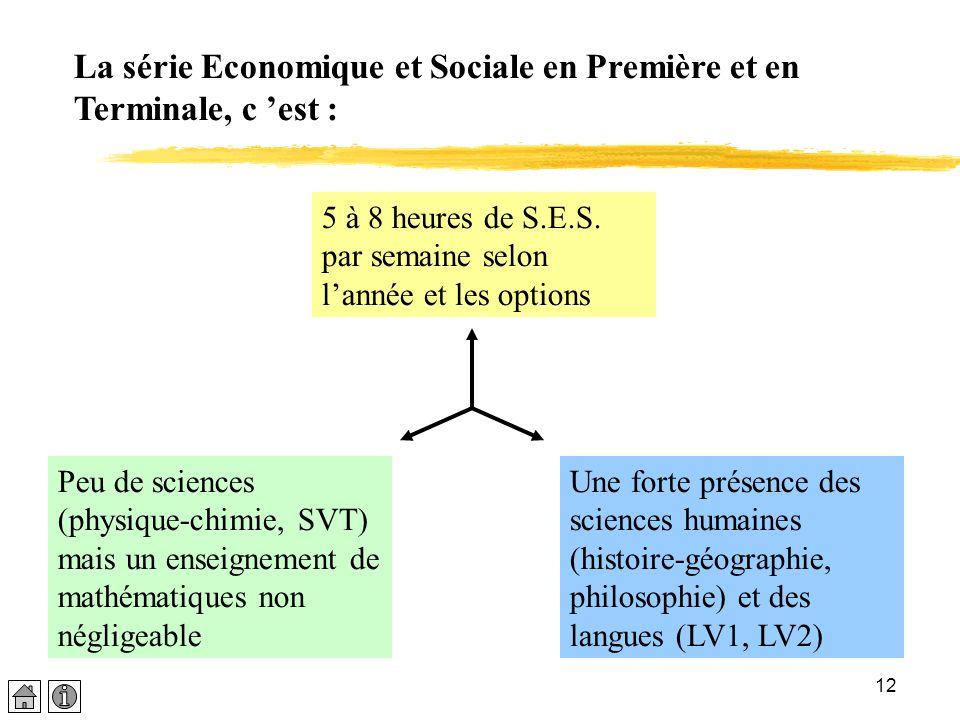 La série Economique et Sociale en Première et en Terminale, c 'est :
