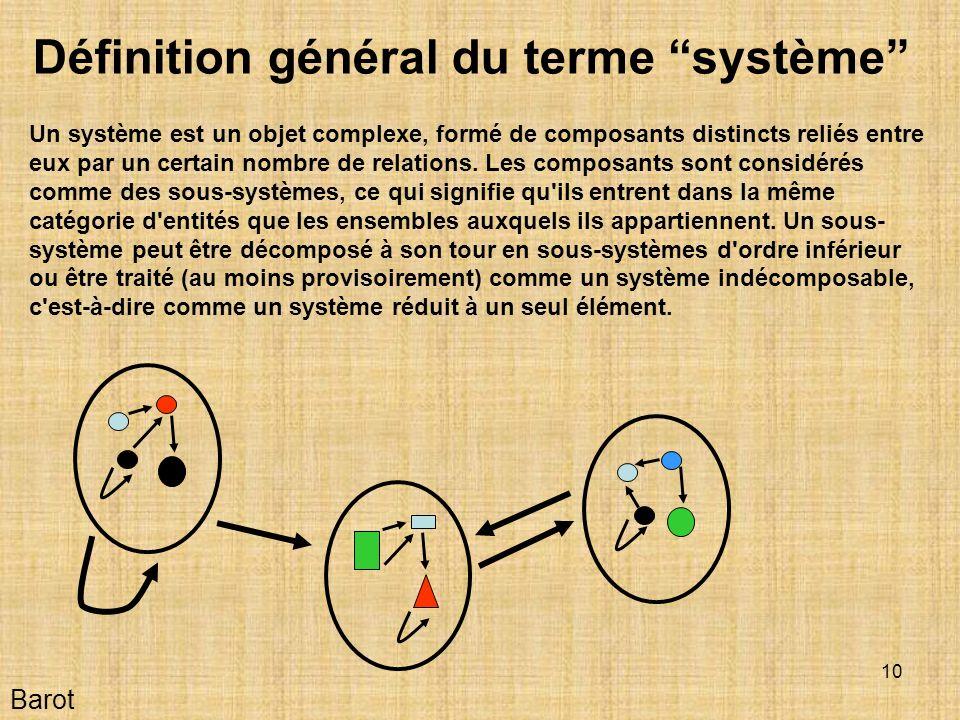 Définition général du terme ''système''