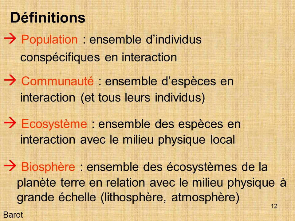  Population : ensemble d'individus conspécifiques en interaction