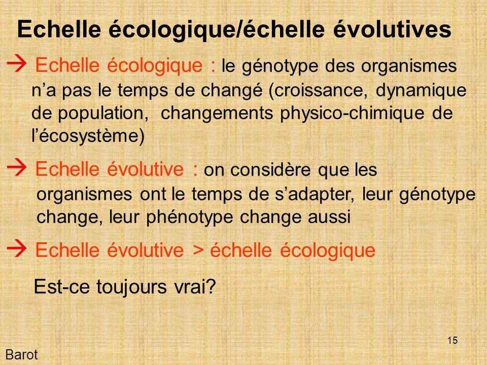Echelle écologique/échelle évolutives