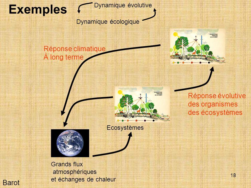Exemples Réponse climatique À long terme Réponse évolutive
