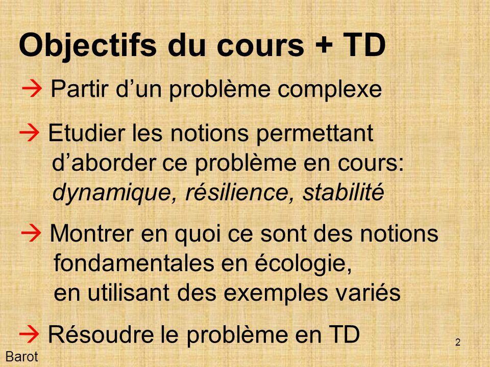 Objectifs du cours + TD  Partir d'un problème complexe