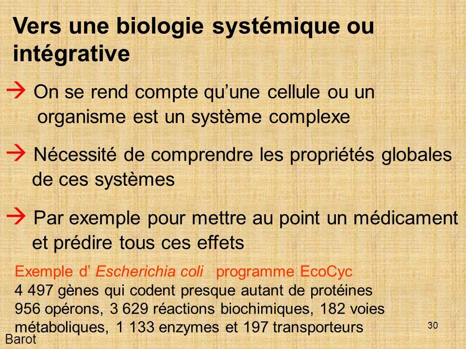 Vers une biologie systémique ou intégrative