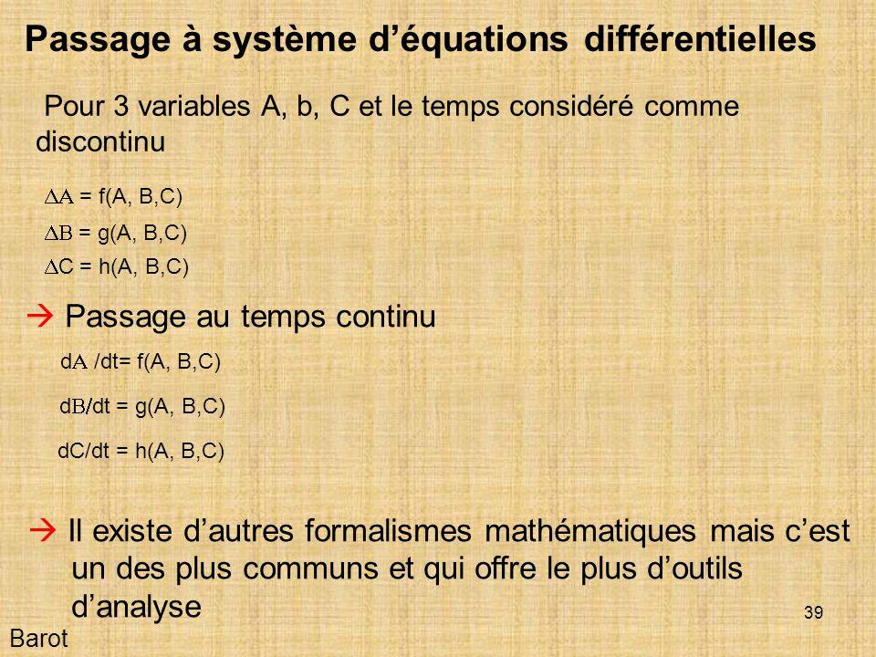 Passage à système d'équations différentielles