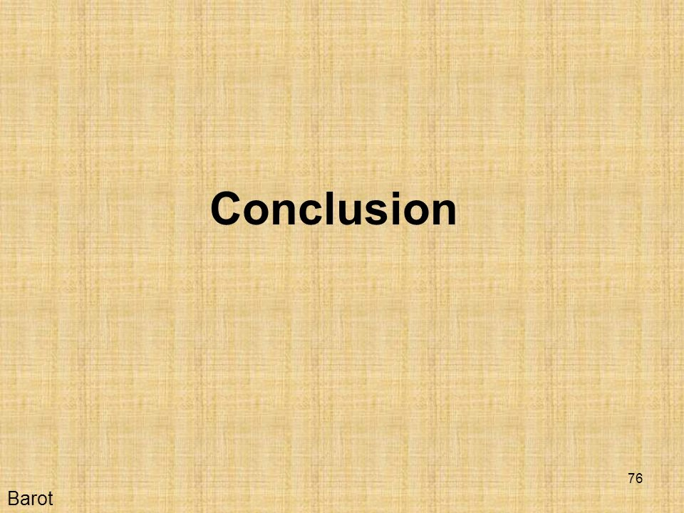 Conclusion Barot