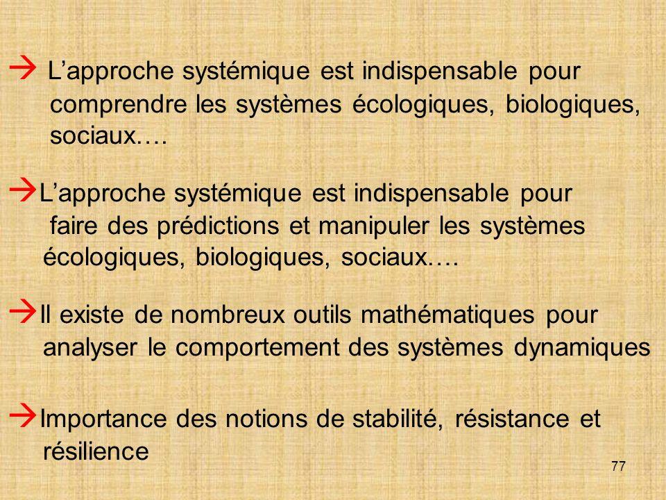  L'approche systémique est indispensable pour comprendre les systèmes écologiques, biologiques, sociaux….